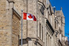 Ottawa CANADA - February 18, 2019: the cultural and national heritage of the Canadian state flag of the Confederation. The cultural and national heritage of the stock image