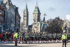 Eremonial Guard of the Governor General Foot Guards of Canada, with their kilts, parading during remembrance day. OTTAWA, CANADA - NOVEMBER 10, 2018: C..Picture royalty free stock photography