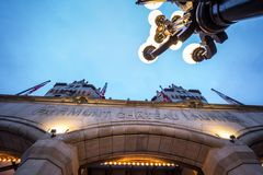 Entrance to the Fairmont Chateau Laurier hotel in downtown Ottawa, Ontario. OTTAWA, CANADA - NOVEMBER 12, 2018:   Part of the Fairmont group, it is a luxury royalty free stock photography