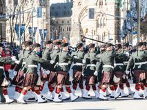 Ceremonial Guard of the Governor General Foot Guards of Canada, with their kilts, parading during remembrance day. OTTAWA, CANADA - NOVEMBER 11, 2018: ..Picture royalty free stock image