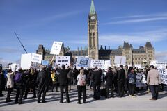 Ottawa, Canada. October 20, 2020. Save Canadian Aviation March