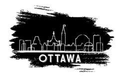 Ottawa Canada Skyline Silhouette. Hand Drawn Sketch. Stock Photo