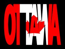 Ottawa with Canadian flag Royalty Free Stock Photography