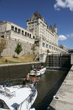 Ottawa - Chateau Laurier and The Rideau Canal. The Rideau Canal has multiple locks in downtown Ottawa connecting the nation's capitol and the Ottawa River to the stock photography