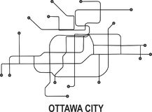 Ottawa City map. Ottawa subway map available in vector file format Royalty Free Stock Image