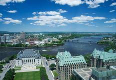 Ottawa-Gatineau. Aerial view of Ottawa and across the Ottawa River to Gatineau Quebec.  Supreme court of Canada and gothic ministry buildings in foreground Royalty Free Stock Image