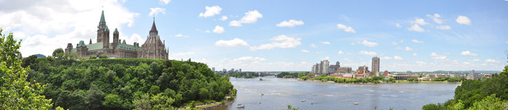 Ottawa and Gatineau Skyline Panorama Royalty Free Stock Photo