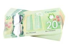 Ottawa, Kanada, Avril 13, 2013, das neue Polymer zwanzig Dollarscheine lokalisiert auf Weiß Lizenzfreies Stockbild