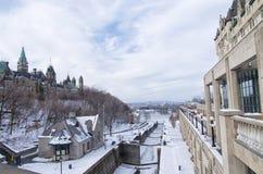 Ottawa låsstation, Rideau kanal, Ontario royaltyfri fotografi