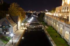 Ottawa Locks. OTTAWA, CANADA -  12TH OCTOBER 2014: Ottawa Locks along the Rideau Canal at night Stock Photo