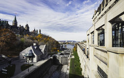 Ottawa Locks. Rideau Canal in the City of Ottawa, Ontario, Canada - Parliament Buildings on Parliament Hill beside Locks Stock Image