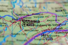 Ottawa on map. Close up shot of Ottawa. is the capital city of Canada Royalty Free Stock Images