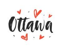 Ottawa. Modern city hand written brush lettering Stock Photos