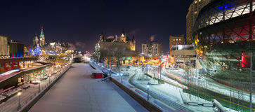 Ottawa Night Panorama At Christmas Stock Images