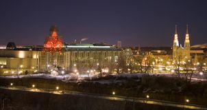 Ottawa night scene. The National Gallery of Canada and Basilica of Notre Dame in Ottawa stock images