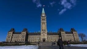 OTTAWA, ONTÁRIO/CANADÁ - 28 DE JANEIRO DE 2018: POVOS NA CONSTRUÇÃO DO PARLAMENTO 4K TIMELAPSE VIDE video estoque
