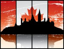 Ottawa Ontario. A grunge silhouette illustration of Parliament Hill in Ottawa Ontario Stock Photography