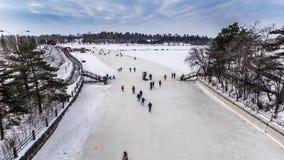 OTTAWA, ONTARIO/CANADÁ - 20 DE ENERO DE 2018: GENTE QUE PATINA EN EL CANAL DE RIDEAU almacen de metraje de vídeo