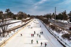 OTTAWA, ONTARIO/CANADA - JANUARI 20 2018: MENSEN DIE OP RIDEAU-KANAAL SCHAATSEN stock foto's