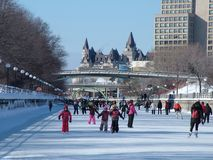 Skating on the Rideau Canal during Winterlude in Ottawa, Canada. Stock Images