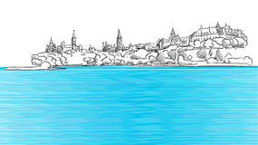 Ottawa Panorama Sketch seen from Ontario River Stock Images