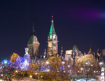 Ottawa Parliament Buildings at Christmas Royalty Free Stock Images