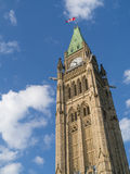 Ottawa Parliament Clock Tower. The main clock tower (Peace Tower) on the parliament buildings in Ottawa, Ontario, Canada royalty free stock photo