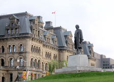 Ottawa Parliament Laurier Statue 2008. The statue of Sir Wilfrid Laurier on Parliament Hill in Ottawa - the capital of Canada Royalty Free Stock Images