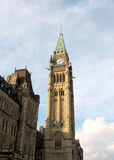 Ottawa Parliament Peace Tower May 2008. Peace Tower of Canadian Parliament at sunset in Ottawa, Canada Royalty Free Stock Images