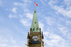 Ottawa parliament tower. Shot of the tower at the Canadian parliament in Ottawa on a sunny day Royalty Free Stock Image
