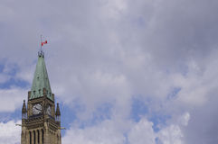 Ottawa Peace Tower Half Mast. Canada flag half mast on Peace Tower Royalty Free Stock Photography