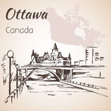 Ottawa Rideau Canal courtesy. Ottawa and map. Ottawa Rideau Canal courtesy.Ottawa and map.  on white background Stock Images