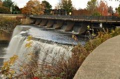 Ottawa Rideau Falls. Ottawa River historic rideau falls side view in fall Royalty Free Stock Photo