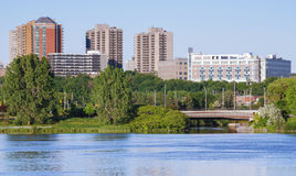 Ottawa River and capitol city skyline along the parkway - late springtime afternoon - early evening approaches. Royalty Free Stock Photography
