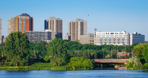 Ottawa River and capitol city skyline along the parkway - late springtime afternoon - early evening approaches. Stock Image