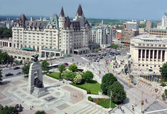 Ottawa's Cenotaph and Chateau Laurier Royalty Free Stock Images