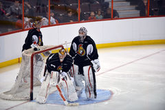 Ottawa Senators open training camp after NHL Lockout. Craig Anderson, L, Ben Bishop, C, and Robin Lehner all seek to become starting goalie during Ottawa Royalty Free Stock Photos