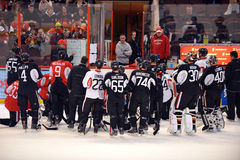 Ottawa Senators open training camp after NHL Lockout. Coach Paul MacLean instructs the Ottawa Senators as they return to the ice for their first practice of Royalty Free Stock Images