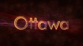 Ottawa - skinande kretsa stadsnamn i Kanada, textanimering stock illustrationer