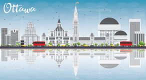 Ottawa Skyline with Gray Buildings, Blue Sky and Reflections. Royalty Free Stock Photos