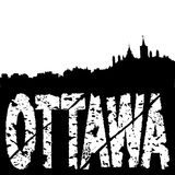 Ottawa skyline grunge text Royalty Free Stock Photos