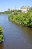 Ottawa skyline on Ottawa River Stock Images