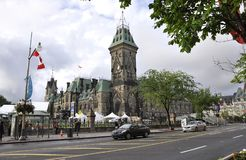 Ottawa, 26th June: Parliament building with East Block Tower at Canada 150 Festivity from Ottawa in Canada. Parliament building with East Block Tower at Canada Royalty Free Stock Photo