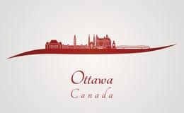 Ottawa V2 skyline in red Royalty Free Stock Photos