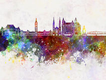 Ottawa V2 skyline in watercolor background Royalty Free Stock Images