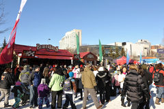 Ottawa Winterlude with local food kiosks Royalty Free Stock Images