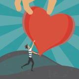 Ottenendo un cuore dal cielo Immagini Stock Libere da Diritti