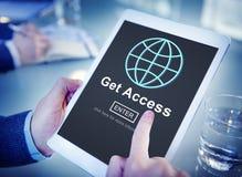 Ottenga ad Access il concetto raggiungibile di disponibilità Immagine Stock