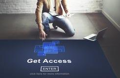 Ottenga a disponibilità di Access la tecnologia online ottenibile Co di Internet Fotografia Stock