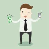 Ottenga i soldi dal cellulare Fotografia Stock Libera da Diritti